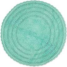 "DII Crochet Collection Reversible Bath Mat, Round, 27.5"" Diameter, Aqua"