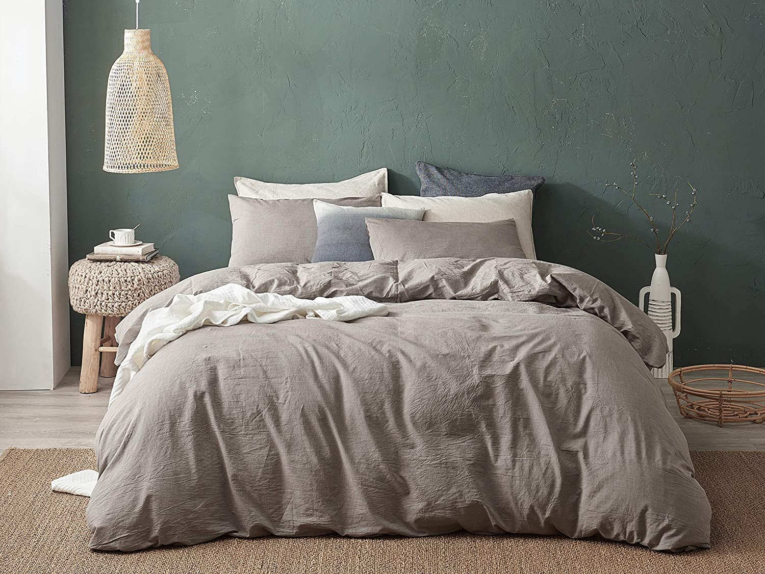 DAPU Long-Staple Washed Cotton Duvet Cover Set (Grey, Full Queen, Duvet Cover and 2 Pillowcases)