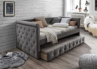 Home Source Day Bed with trundle, Grey