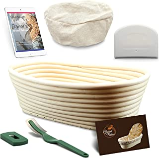 10 Inch Proofing Basket Oval Banneton Bread Basket - Bread Making Tools - Proofing Baskets for Sourdough Bread | Bread Scraper Dough | Bread Lame | Cloth Liner - Bread Baking Set