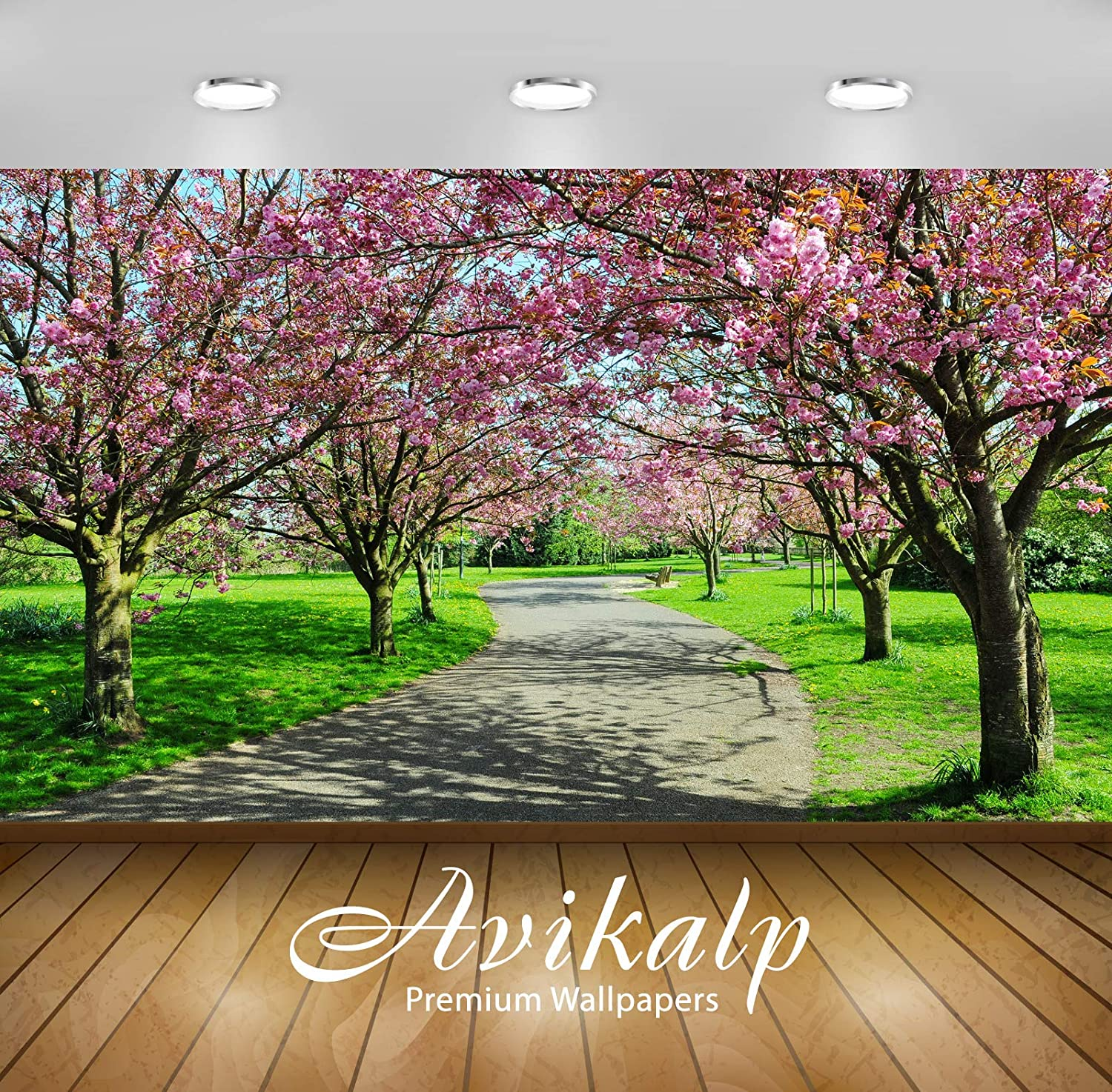 Buy Avikalp Awi3374 Pink Flowers Trees Road Beautiful Nature Scenery Full Hd 3d Scenery Wallpaper Or Wall Sticker Vinyl 121cm X 91cm Online At Low Prices In India Amazon In