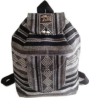 Baja Backpack Ethnic Woven Mexican Bag - Gray & Black Stripes