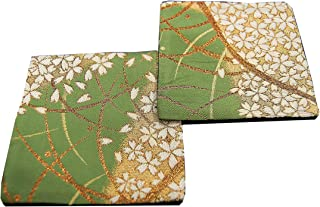 SHINSENDO KIMONO COASTER Japanese traditional fabrics Kinran 2 sheets set (Pattern name: Moegi)