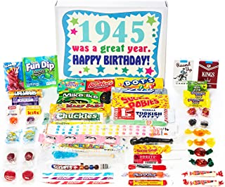 Woodstock Candy ~ 1945 74th Birthday Gift Box of Nostalgic Retro Candy from Childhood for 74 Year Old Man or Woman Born 1945