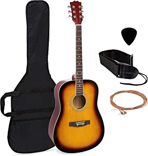 Best Choice Products 41in Full Size All-Wood Acoustic Guitar Starter Kit w/Case, Pick, Shoulder Strap, Extra Strings (Sunburst)
