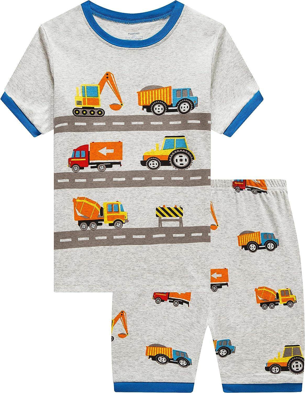 Boys Pajamas 100% Cotton Summer Pjs Toddler 2 Piece Sleepwear Kids Short Set