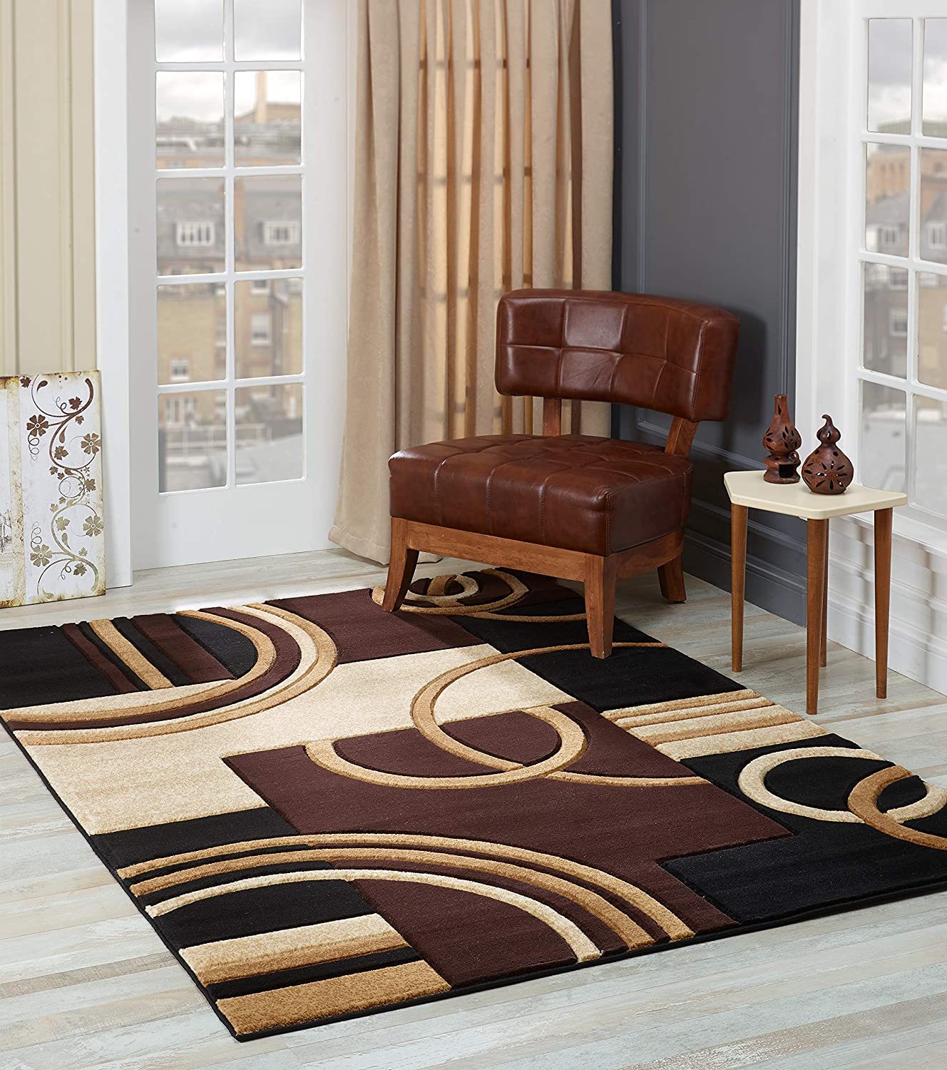 GLORY RUGS Area Rug Modern 8x10 Brown Soft Hand Carved Contemporary Floor Carpet with Premium Fluffy Texture for Indoor Living Dining Room and Bedroom Area