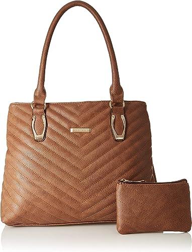 Women S Handbag With Pouch Dark Tan Set Of 2