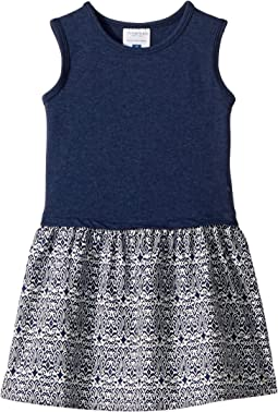 Soft Navy Tank Dress with Patterned Skirt (Toddler/Little Kids/Big Kids)