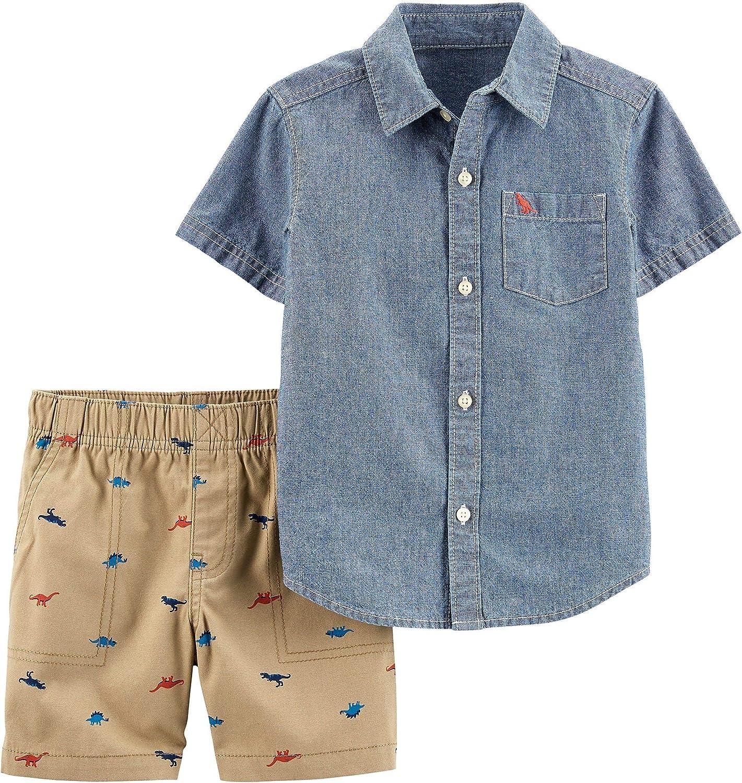 Carter's Baby Boys Dinosaur Denim Button Down Shorts Set 3 Month Blue/Beige