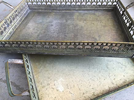 Preisvergleich für Tablett Serviertablett Metalltablett Set Metall Shabby Landhausstil Antik Stil