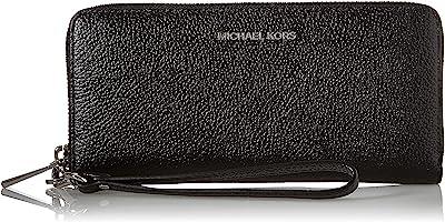 "Michael Kors Girls Jet Set Pebbled Leather Continental Wristlet, Zwart, 8.25"" W X 4"" H X 1"" D"