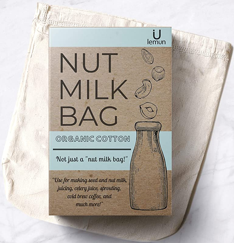 Nut Milk Bag All Purpose Certified Organic Cotton Reusable Unbleached Natural Cheesecloth Strainer For Almond Milk Juicing Cold Brew Coffee 12 X12 Commercial Food Grade Filter Eco Friend