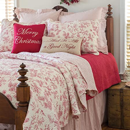C F Home Evergreen Toile Machine Washable Reversible Cotton Quilt Set Full Queen Quilt Set Red Home Kitchen