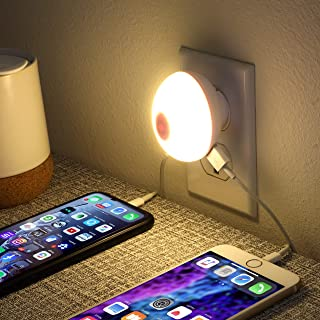 Portable Plug-in 0.7W Travel LED Night Light with Dual USB 2.1A Wall Charger ETL Certified