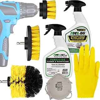 Complete RMR 86 Brands Mold Remover Kit: RMR 141 Black and Mildew Killer Removal Spray, RMR86 Stain Cleaner, Drill Brush Power Scrubber Attachment Set, 3M N95 Particle Respirator Mask, Thick Gloves.