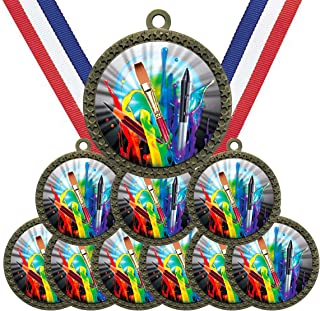 Large 2-1/2 inch Diameter Metal Antique Gold Art Student Class Project Medals Star Award Trophy Champion Winner with Red W...