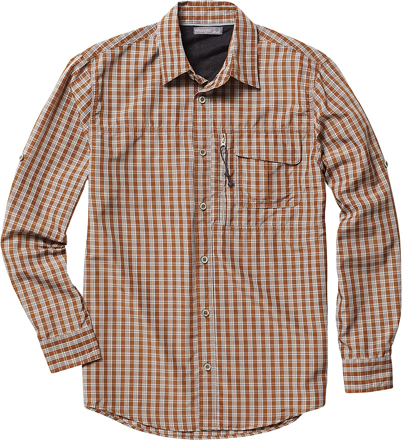 Wrangler Outdoor Men's Big and Tall Long Sleeve Utility Shirt, NSP93TF, Toffee Plaid