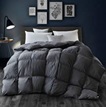 Siberian Goose Down Comforter King Size Warmth Duvet Insert - All Season - Luxury 100% Cotton Hypoallergenic 1000 Thread Count 750 Fill Power with Tabs Gray
