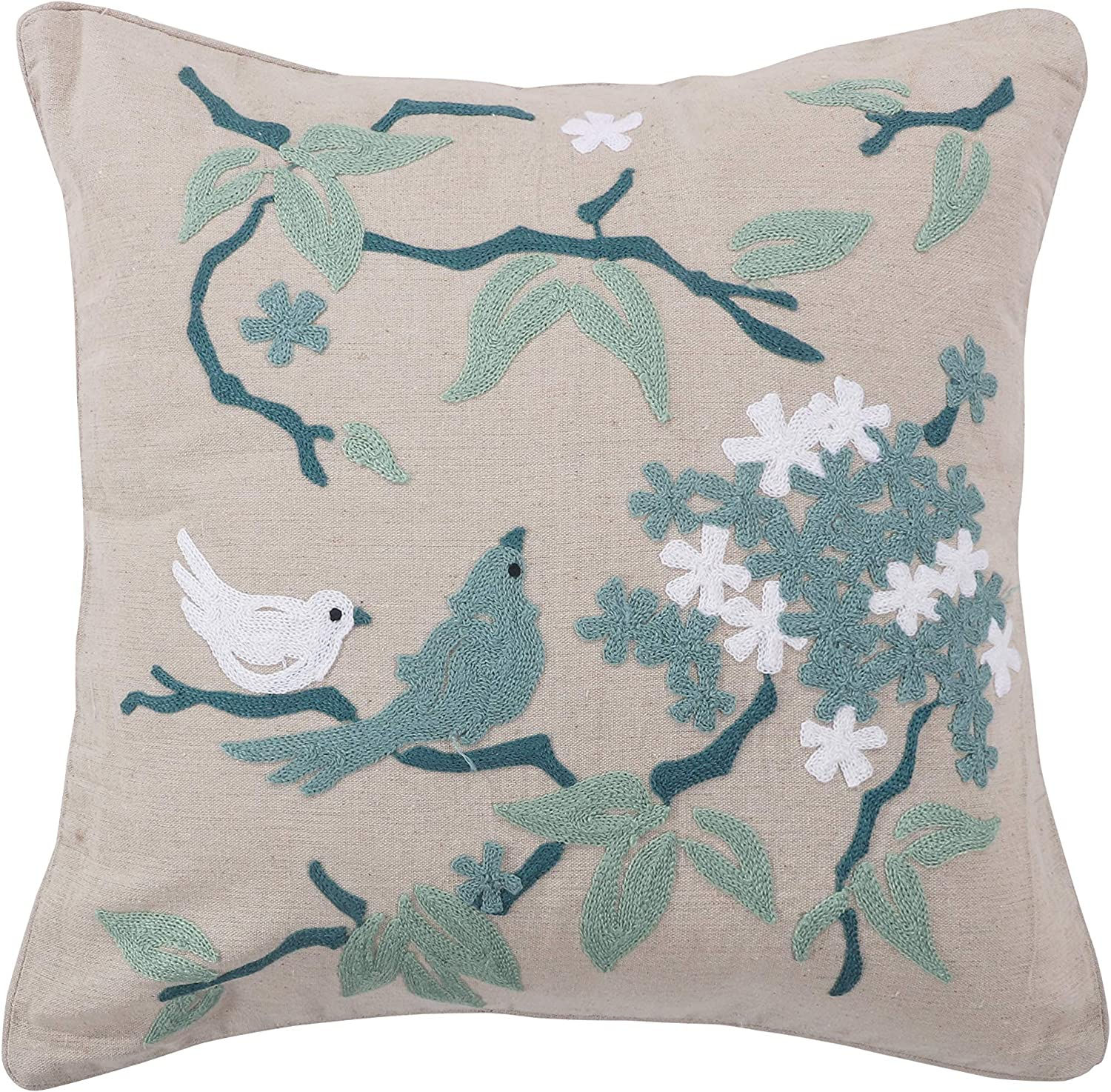 Amazon Com Levtex Home Winslow Fbird Embroidered Taupe Pillow Animal 100 Cotton Natural Teal White Home Kitchen
