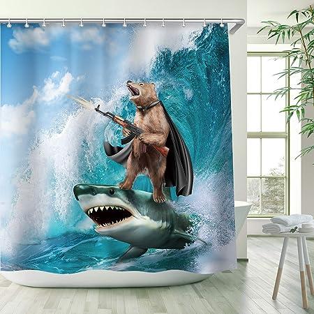 RosieLily Funny Shower Curtain, Bear Shower Curtains Set with 12 Hooks, Waterproof Shower Curtain, Decor Bear Shark Surfing Kids Shower Curtain , 72x72 ''