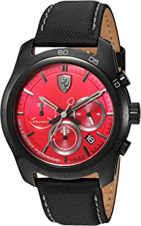 Ferrari Men's 'PRIMATO' Quartz Stainless Steel and Nylon Casual Watch, Color Black (Model: 830447)