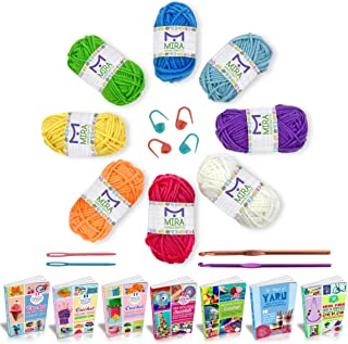 Best Mira Handcrafts Complete Yarn Starter Pack for Crochet, Crafts, Knitting – Total of 176 Yards DK Yarn, 2 Crochet Hooks, 2 Sewing Needles, 4 Markers, 7 Ebooks with Yarn Patterns All Included Review
