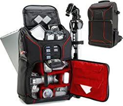 USA GEAR SLR Camera Backpack Case (Red) - 15.6 inch Laptop Compartment, Padded Custom Dividers, Tripod Holder, Rain Cover, Long-Lasting Durability and Storage Pockets - Compatible with Many DSLRs
