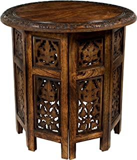 Cotton Craft Jaipur Solid Wood Hand Carved Accent Coffee Table – 18 Inch Round Top..