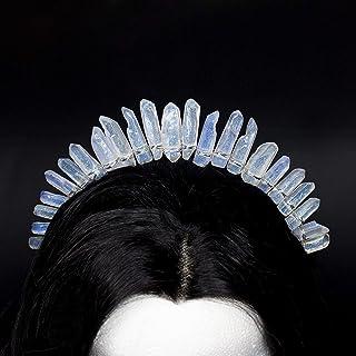 Lucis Caelum Kristall Stirnband Brautkrone, Stirnband mit weißen Kristallen blau Reflexionen, Hochzeitskranz, Stirnband Festival Kristalle, originelles Geschenk zum Valentinstag