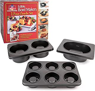 The Original Better Baker Edible Food Bowl Maker Combo Pack- Bake 3-Inch, 5-Inch, and XL Loaf Dessert & Dinner Bowls