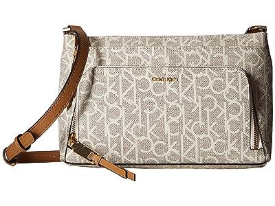 Calvin Klein Key Item Monogram Multi Entry Crossbody (Almond/Khaki) Cross Body Handbags