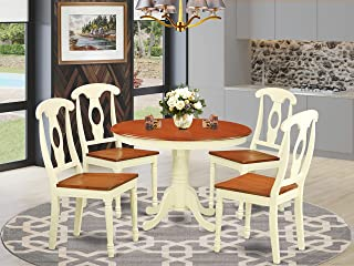 5 Pc set with a Round Small Table and 4 Wood Dinette Chairs in Buttermilk and Cherry .
