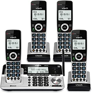 """VTech VS113-4 Extended Range 4 Handset Cordless Phone for Home with Call Blocking, Connect to Cell Bluetooth, 2"""" Backlit S..."""