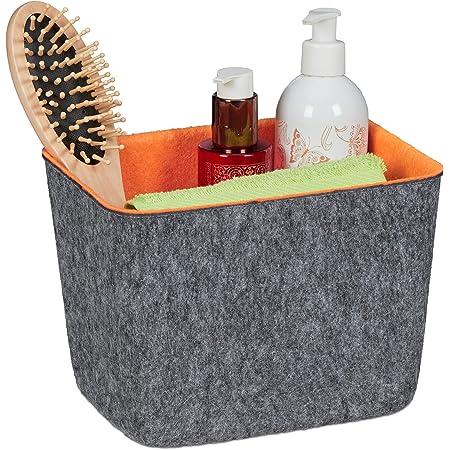 Relaxdays Panier de rangement feutre, corbeille polyvalente pour étagère et armoires, 15,5 x 21 x 15,5 cm, gris/orange 10035373 1 unité