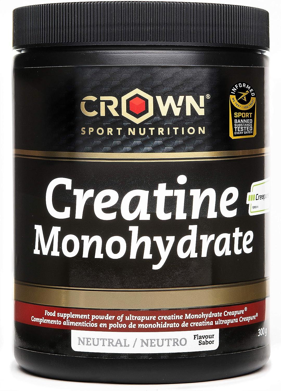 Crown Sport Nutrition Creatina Monohidrato Creapure con certificado antidoping Informed Sport, Suplemento para Deportistas, Polvo sabor Neutro - 300 g