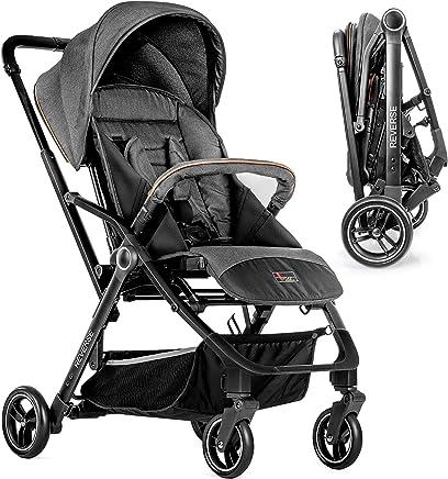 Hoco Buggy Reverse - Silla de paseo ligera reversible y reclinable   Fácil de maniobrar, plegado compacto con una mano y freno de pie - Gris Negro