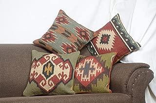 Chouhan Rugs 4 PCS Set of Hand Woven Jute Kilim Cushion Cover Indian Vintage Pillows 18X18 Rug Boho Shams