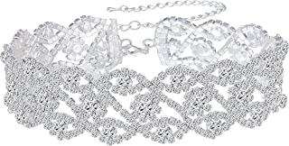 Womens Silver Plated White Clear Rhinestone Crystal Wedding Bridal Choker Necklace Drop Earrings Set