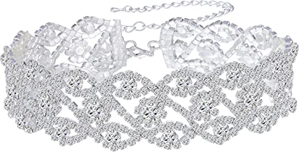 Paxuan Womens Silver Plated White Clear Rhinestone Crystal Wedding Bridal Choker Necklace Drop Earrings Set