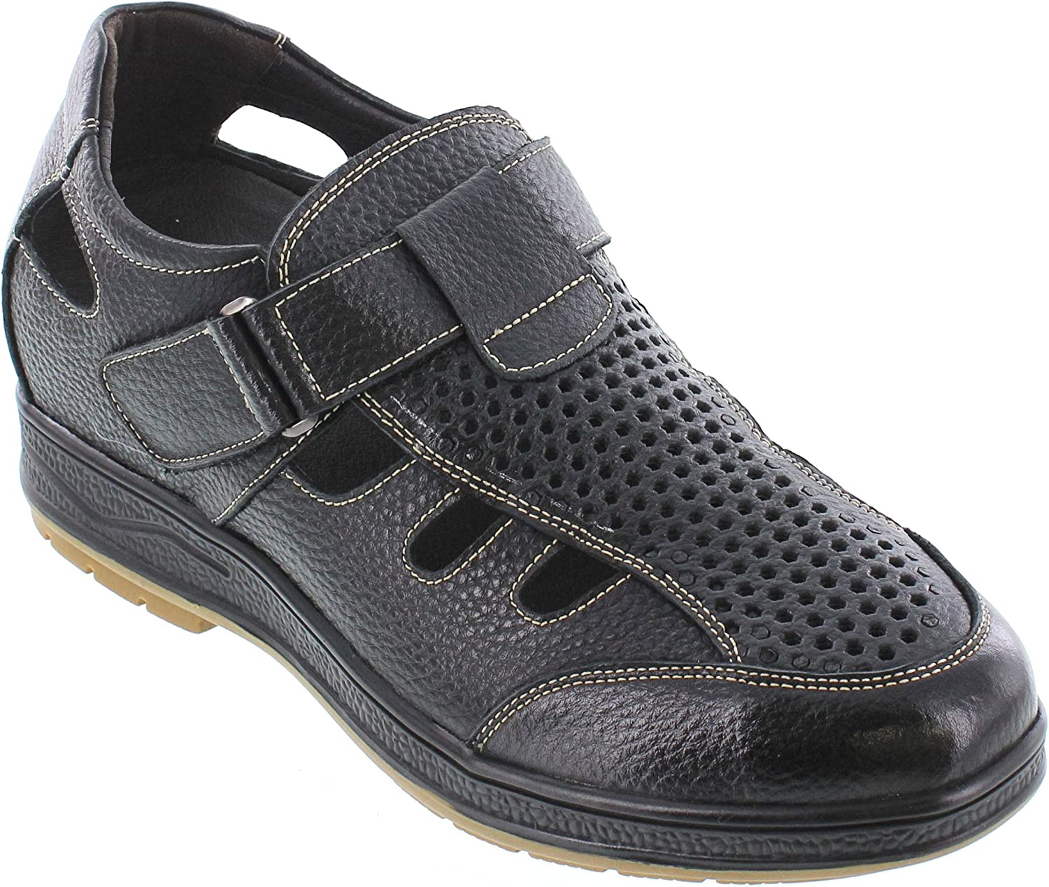 CALTO Men's Invisible Height Increasing Elevator shoes - Black Pebble Grain Leather Fisherman Sandals - 3 Inches Taller - J96702