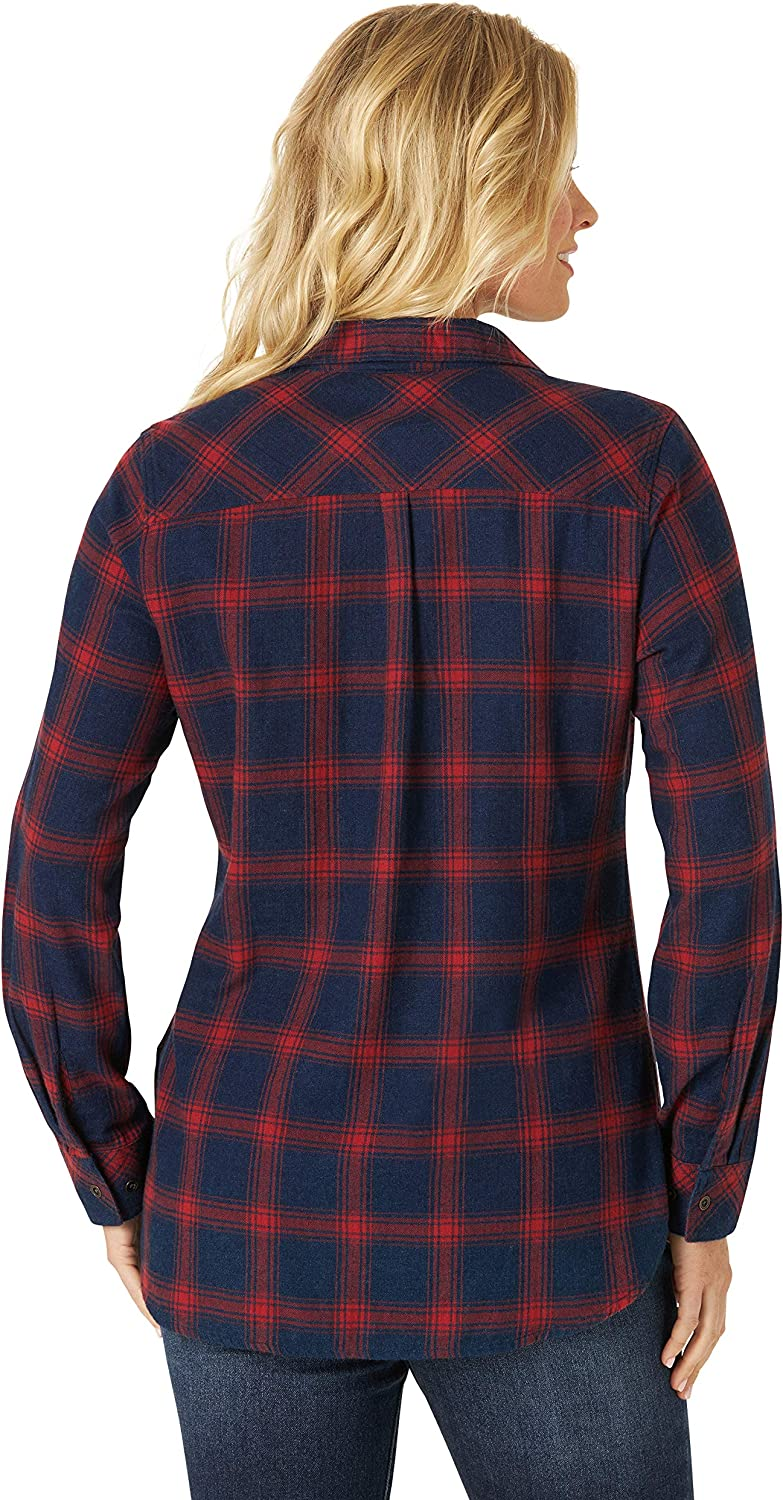 Riders by Lee Indigo Womens Heritage Long Sleeve Button Front Plaid Flannel Shirt