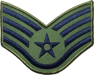 Papapatch Staff Sergeant Chevrons Rank US Air Force USAF Airman Army Military Sewing Iron on Arms Shoulder Embroidered Applique Patch - OD (Olive Drab) (1 Piece) (STAFF-OD)