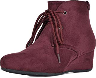 DREAM PAIRS Women's Ramona Wedge Heel Ankle Boots
