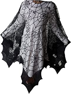 """Halloween Bats Poncho with Spider Webs, Costume, by Heritage Lace, 58"""" x 58"""",.."""