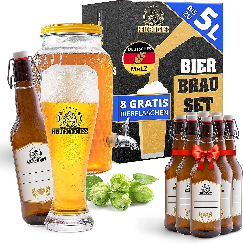 Heldengenuss - 20 piezas – Juego de elaboración de cerveza de trigo blanco con el verdadero [experiencia de destila] – 5 litros de cerveza regalos para hombres – Set de cerveza para casa