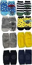 Baby Grip Non Slip Skid Socks for Kids, Infants, Toddler, Pack of 4 Bonus Kneepads Leg Warmers