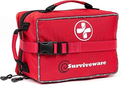 SURVIVEWARE Comprehensive Premium Large First Aid Kit and Bonus Mini Emergency Medical Kit for Trucks, Cars, Camping,...