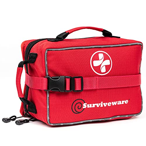 Surviveware Large First Aid Kit & Added Mini Kit for Trucks, Car, Camping and Outdoor Preparedness