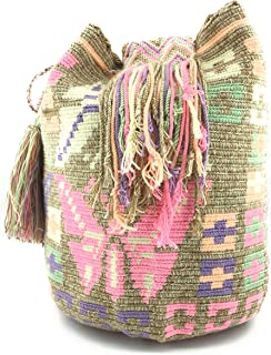 Colombian Handbags, Mochila Wayuu, 100% Original Colombian Cotton Handmade Bucket Bag. (EMBROIDERY)